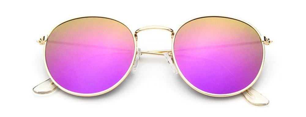 c70e2e8b9f Round Retro Sunglasses Gold with Purple Mirror Lens + Wrapz Pouch Full UV400  Y12