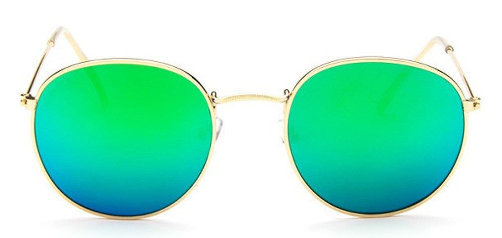 b9540b545d Round Retro Sunglasses Silver with Green Mirror Lens +Wrapz Pouch Full UV400  Y13